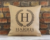 established pillow, personalized pillow, wedding gift, pillow, wedding pillow, monogram pillow, wedding, burlap pillow cover, custom pillow