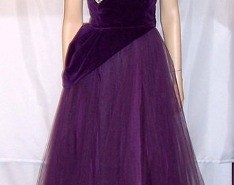 1950's Violet Tulle and Velvet Ball Gown