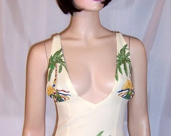 Glamorous Hollywood Ensemble with Embroidered Palm Trees