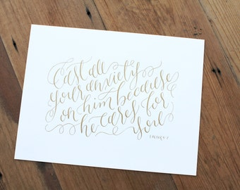 1 Peter 5:7 // Calligraphy Print (2 sizes)