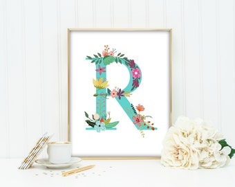 Letter R Monogram, art print  Turquoise Aqua  Lettering,  Nursery Art, Printable, Floral