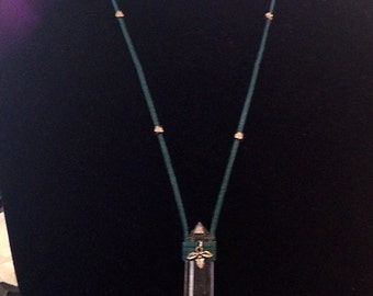Holy Leaf Crystal & Suede Necklace