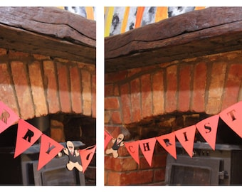 Christmas Bunting Banner with 3 wooden gingerbreads