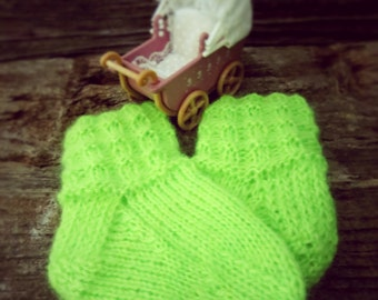 Hand knitted, Angora and Acrylic socks for Baby