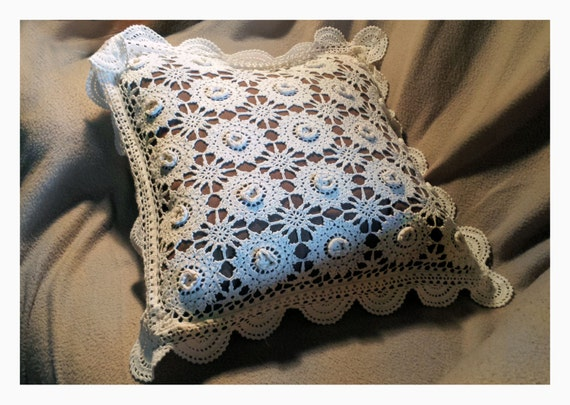 White Lace Crocheted Decorative Pillow Vintage Knitted