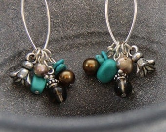 Dangle Earring | Turquoise | Fresh Water Pearls | Smokey Topaz | Design by Cici