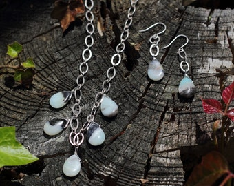 Amazonite Necklace and Earring Set, Wire Wrapped Semiprecious Stone Teardrop Briolettes with Antique Silvertone Chain