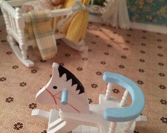 1:12 1/12 Dollhouse Miniature Rocking Horse - Blue and White - Dollhouse Nursery