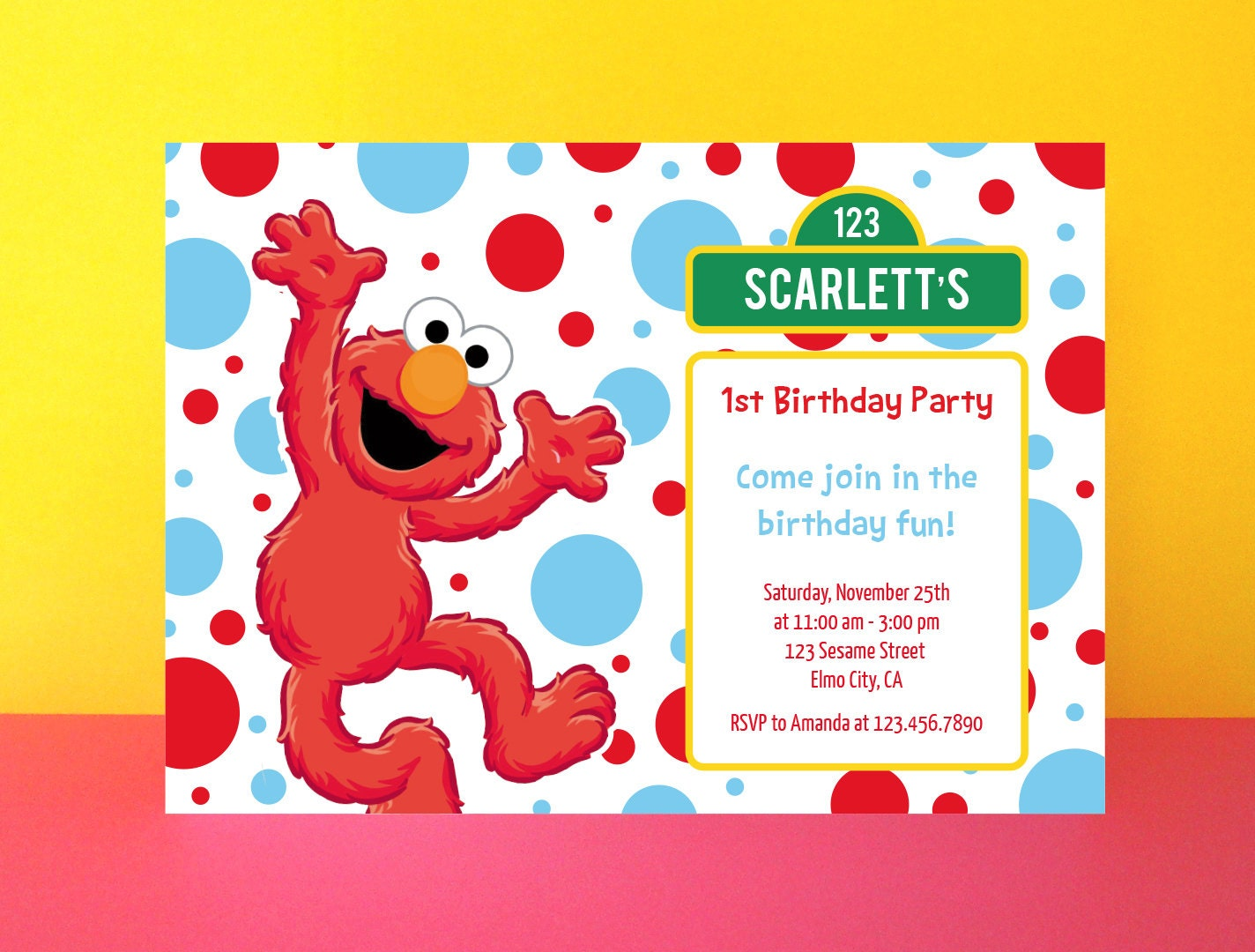 Elmo invitation printable instant download by paperpartydesign for Instant download invitations