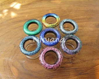 """Color Dichroic Glass Tunnel Plugs 4g 2g 0g 00g 7/16"""" 1/2"""" 9/16"""" 5/8"""" 3/4"""" 1"""" 5 mm 6 mm 8 mm 10 mm 12 mm 14 mm 16 mm 18 mm 20 mm 25 mm"""