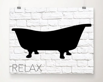Items similar to Printable Take A Bath Bathroom Artwork on ...