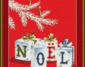 Christmas Gifts Noel Counted Cross Stitch Pattern (162 x 200 stitches) in PDF for Instant Download