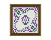 Pretty Purple and Green Square Biscornu Counted Cross Stitch Pattern in PDF for Instant Download
