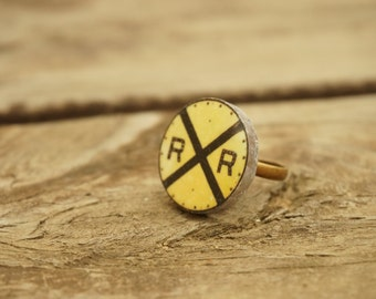 Railroad Ring, Statement ring, Handmade ring, Industrial jewelry, Yellow jewelry, Transportation, Black and yellow, Fun ring, Railroad