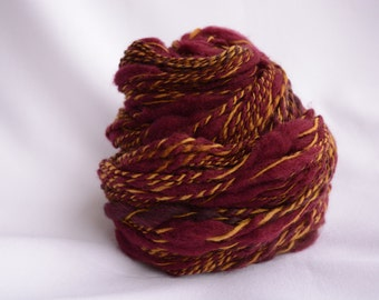 Raspberry and wheat handspun yarn