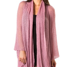 Prema Sheer Jacket Wrap in Light Mauve #57, Lightweight Woven Knit, Mesh, See Through. Cozy yet sexy and feminine, wrap yourself in comfort!