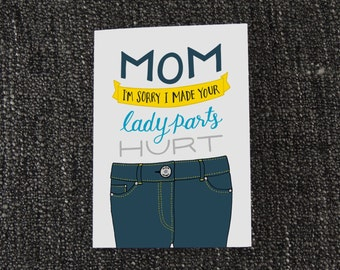 Mother's Day - Lady Parts - Hand Drawn Calligraphy Greeting Card