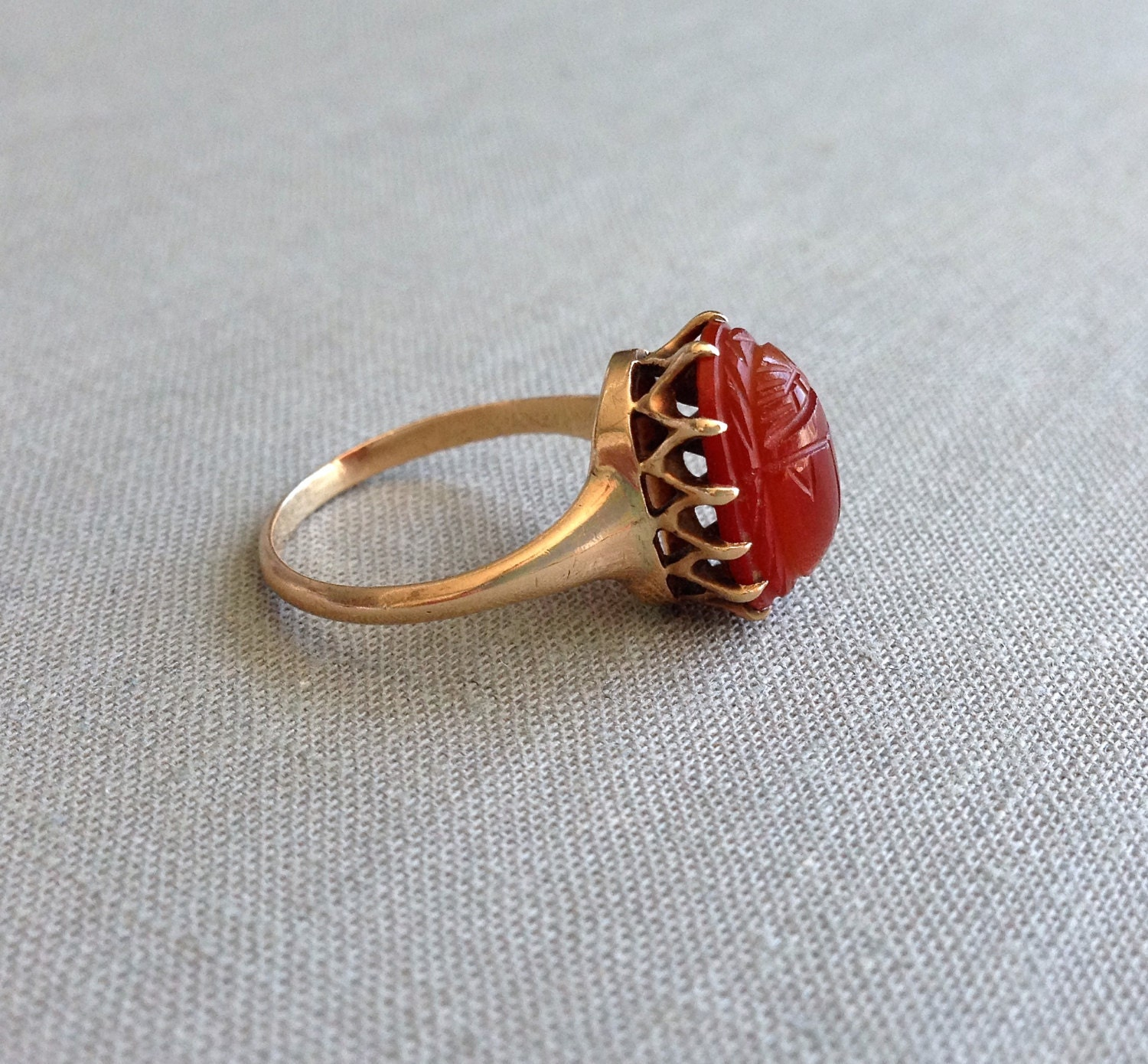 antique carnelian scarab 12k gold ring
