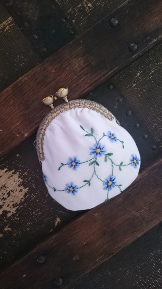Vintage coin purse upcycled repurposed embroidery