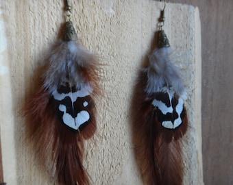 Feathers earrings. Native american style, boho, gypsy