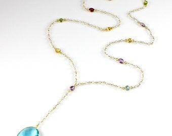 Blue Quartz Pendant Y Necklace with Semi-precious Gemstones