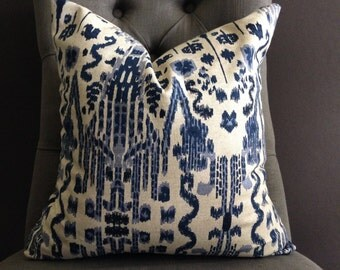 Pillow Cover, Navy Blue Ikat Pillow Cover, MUMBAI
