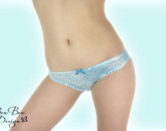 Turquoise and white semi sheer thong panties lingerie underwear