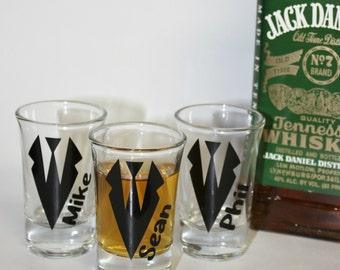 Personalized wedding shot glasses/ tux/ groom/ groomsman/ bachelor party