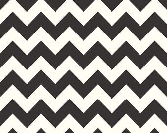 """End of Bolt 34"""" Black Medium Chevron on Cream Color from Le Creme Basics Collection by Riley Blake 100% Cotton Fabric"""