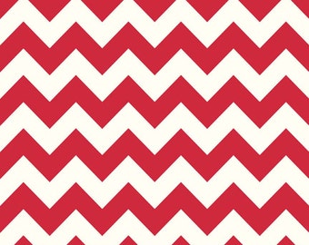 SALE! Red Medium Chevron on Cream Color from Medium Chevron Collection by Riley Blake 100% Cotton Fabric - By The Yard
