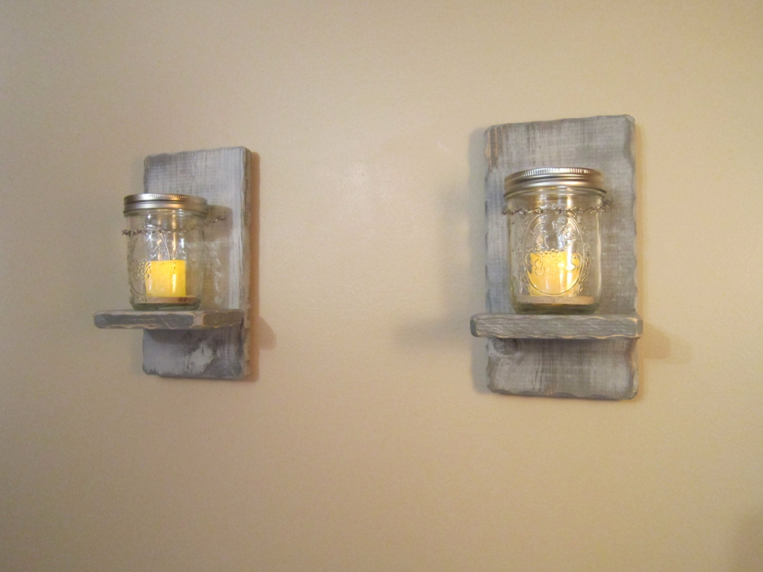 Wall Sconces Mason Jar Candle Holder A by BriarRidgeCreation