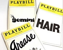 Vintage Playbill collection, Broadway plays, Grease, Gemini, Hair, collectible souvenirs, paper ephemera, vintage advertisements, supplies