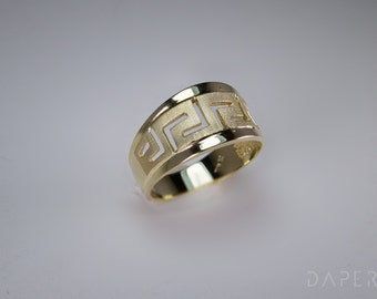 Tapered Ring, Greek Key Ring, 14K Solid Gold Ring, Greek Meander Ring, Ancient Greek Ring, Greek Meander, Greek Jewelry,