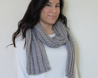 Knit Scarf . Chunky Scarf . Ribbed Scarf . Long Scarf . Grey Scarf . Charcoal Scarf . Thick Scarf