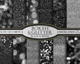 Silver Digital Paper: Black and Silver Glitter Paper, Silver Glitter Digital Paper, Bokeh Digital Paper, Bokeh Background, Black Glitter