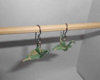 Hypoallergenic Origami Earrings | Paper Crane Model