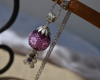 Ball & Bear seed beads beaded pendant with stainless steel chain necklace