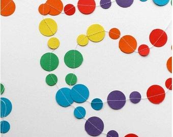 Rainbow Circles Paper Garland, Nursery Decor, Merry and Bright Christmas, Carnival/Circus Birthday, Wedding