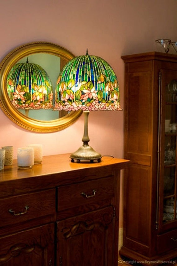Lotus lamp. Tiffany 18 inch Lotus lamp. Tiffany style lampshade. Original pattern replica lamp.