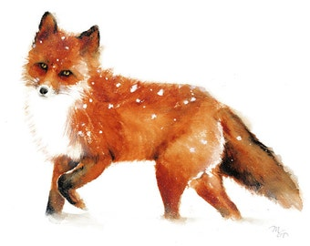 Red Fox  - Giclee Print of watercolor painting. Art Print. Nature or Animal Illustration. Rust and Orange.