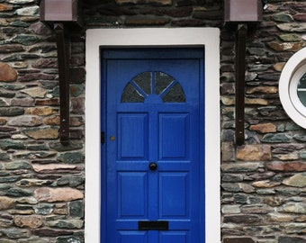 Rustic Irish Door. Dingle, Ireland. Cobalt Blue. Wall Art.