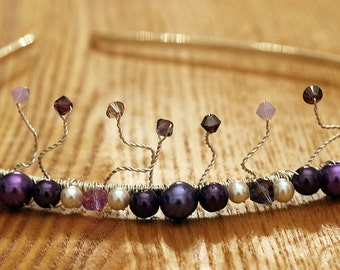 Purple Beaded Tiara Headband