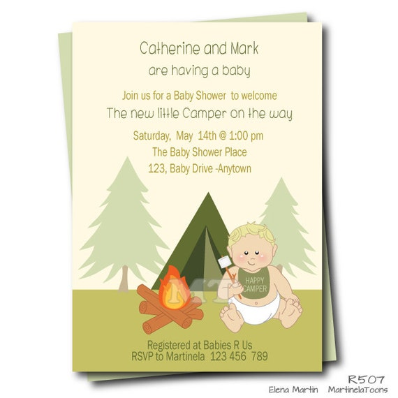 camping baby shower invitation smores coed baby shower