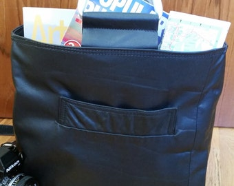 Black Leather Tote Handmade from Upcycled Coat with Aluminum Handles