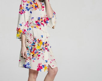 40496 white Bridesmaid robe Kimono silk robe gift for bride wedding will you be my bridesmaid gift floral silk bridesmaid robe