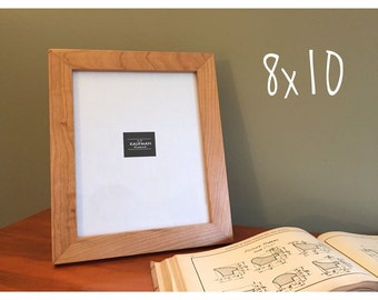 8x10 wooden picture frame cherry wood with walnut splines handmade glass single
