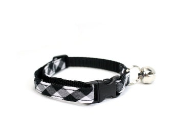 Black White Gingham Cat Collar Breakaway Safety Check Cat Collar