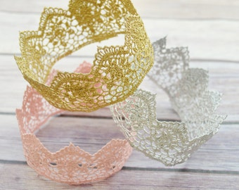 Lace Crowns, Gold Crown, Pink Crown, Silver Crown, Birthday Crown, Newborn Crown, Photo Prop Crown