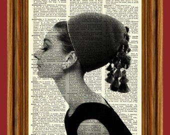Audrey Hepburn Portrait Breakfast at Tiffany's Upcycled Dictionary Art Print Poster