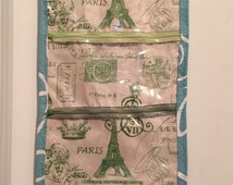 Travel Hanging Toiletry Bag - Waterproof - Paris Print and Stripes in Green